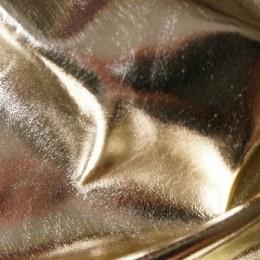 Ткань кожа стрейч металлик светлое золото (метр )