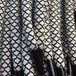 Шнурок круглый 6мм №32 1,25м белый с чёрным (пара)