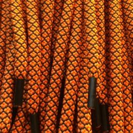 Шнурок круглый 6мм №32 1,25м ораньжевым с чёрным (пара)