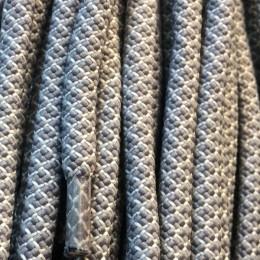Шнурок круглый 6мм №32 1,25м светло серый с белым (пара)
